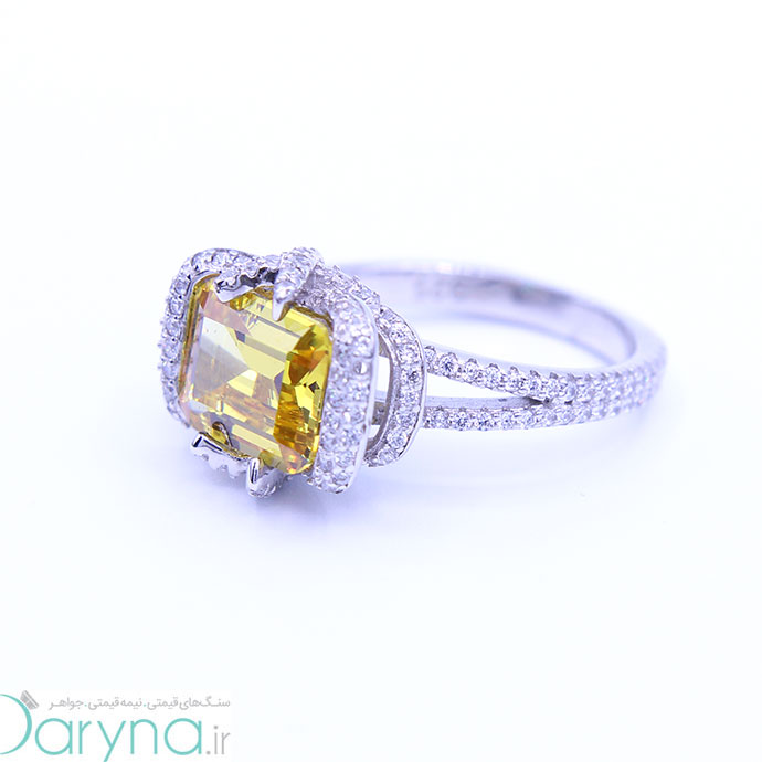 انگشتر زنانه جواهر نقره نگین یاقوت زرد کد 0612.1.1019.02