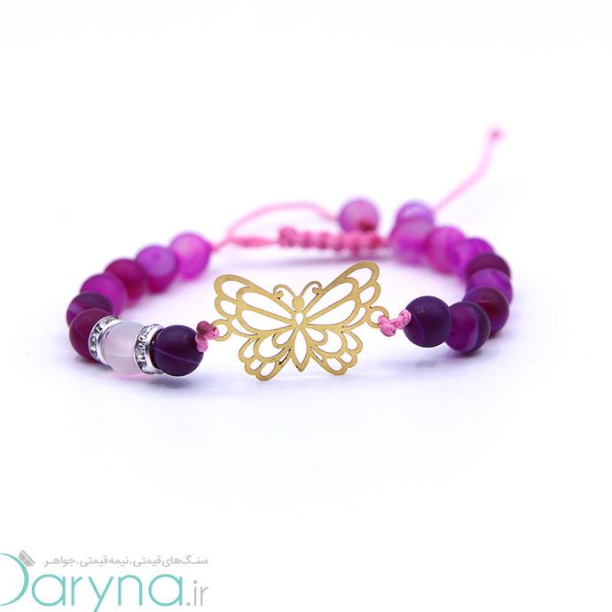دستبند طلا طرح پروانه کد 061.1.1.1.37