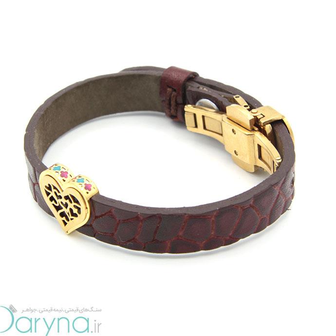 دستبند چرم وطلا 0611.1.8.1.2.1.05