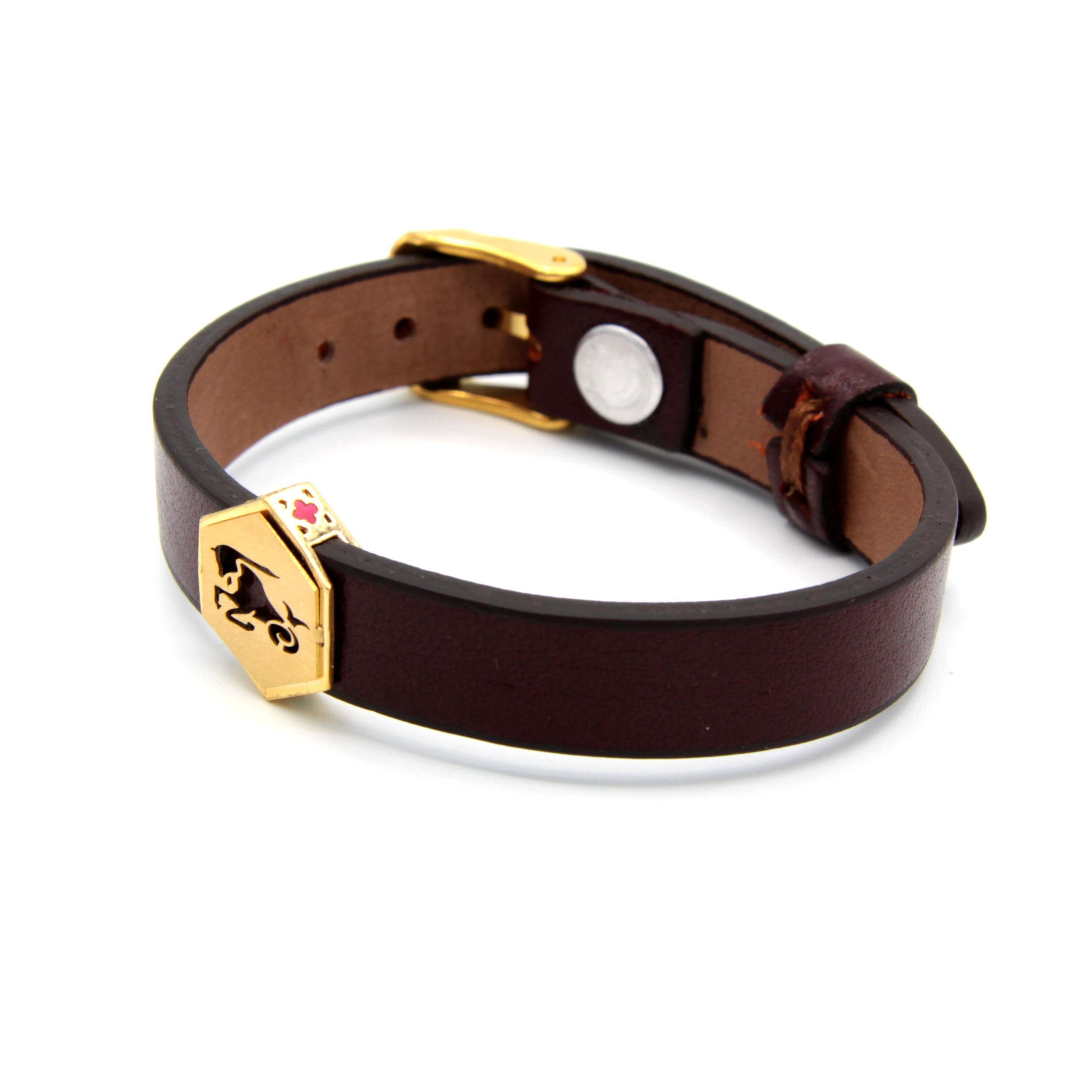 دستبند چرم و طلا -ماه تولد دی -کد0611.1.9.2.2.2.10