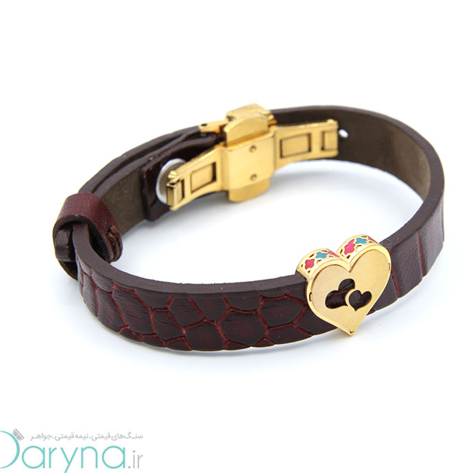 دستبند چرم وطلا -کد0611.1.8.1.2.1.06