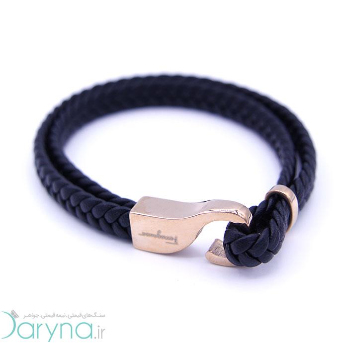 دستبند چرم و استیل کدD012