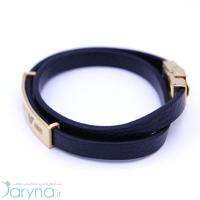 دستبند چرم و استیل کدD06