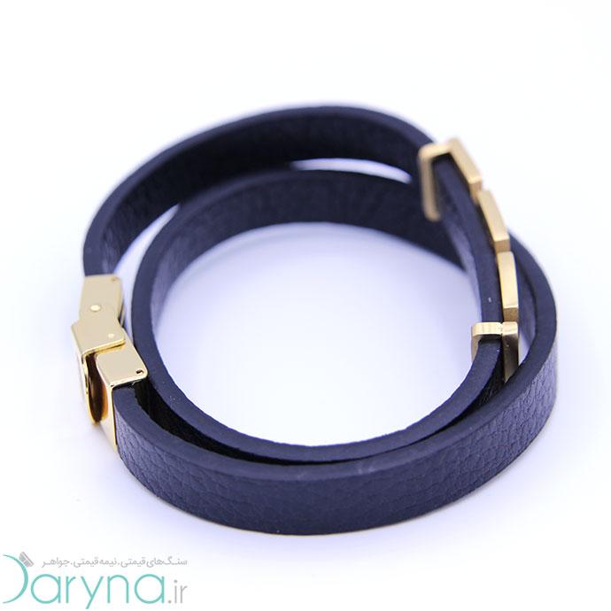 دستبند چرم و استیل کدD07