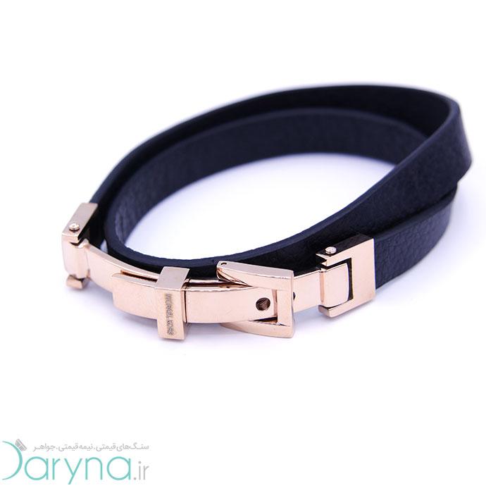 دستبند چرم و استیل کدD09