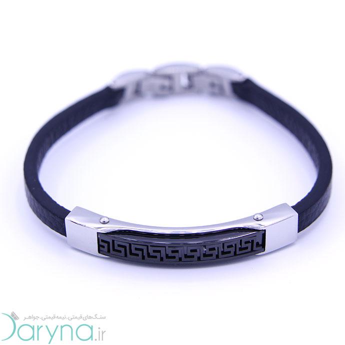 دستبند چرم و استیل کدD011